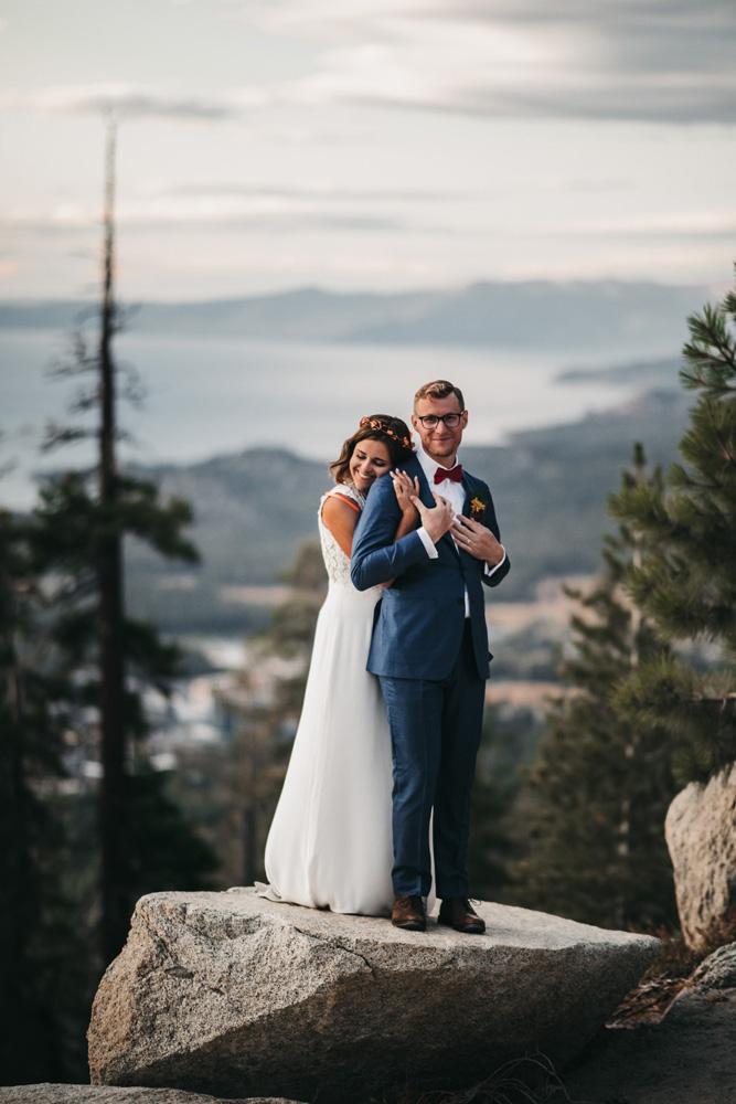 Lake Tahoe Heavenly wedding - couple overlooking lake