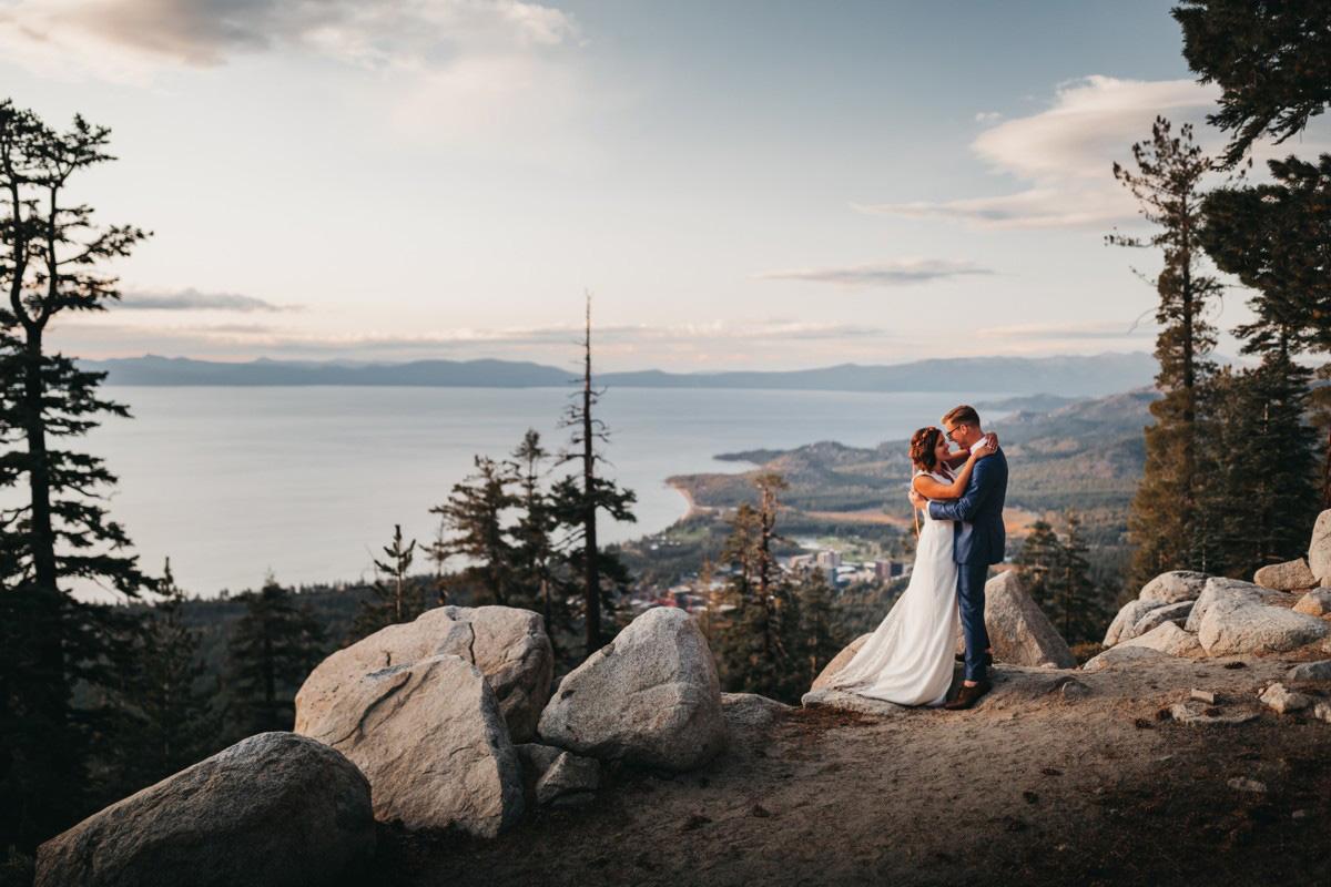 Lake Tahoe Heavenly wedding - a romantic moment