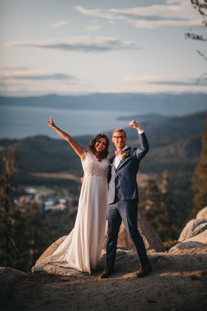 Lake Tahoe Heavenly wedding - the couple celebrates