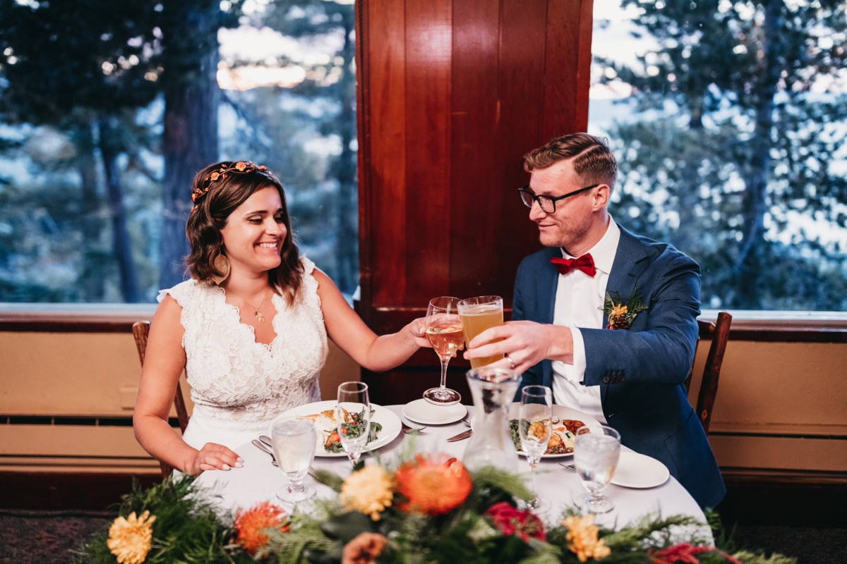 Lake Tahoe Heavenly wedding - couple toasting