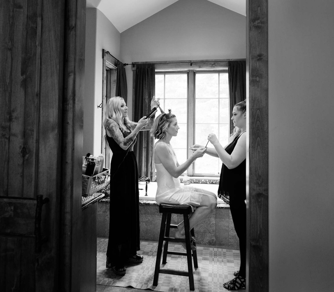 Lake Tahoe wedding on Truckee River - bride hair & makeup
