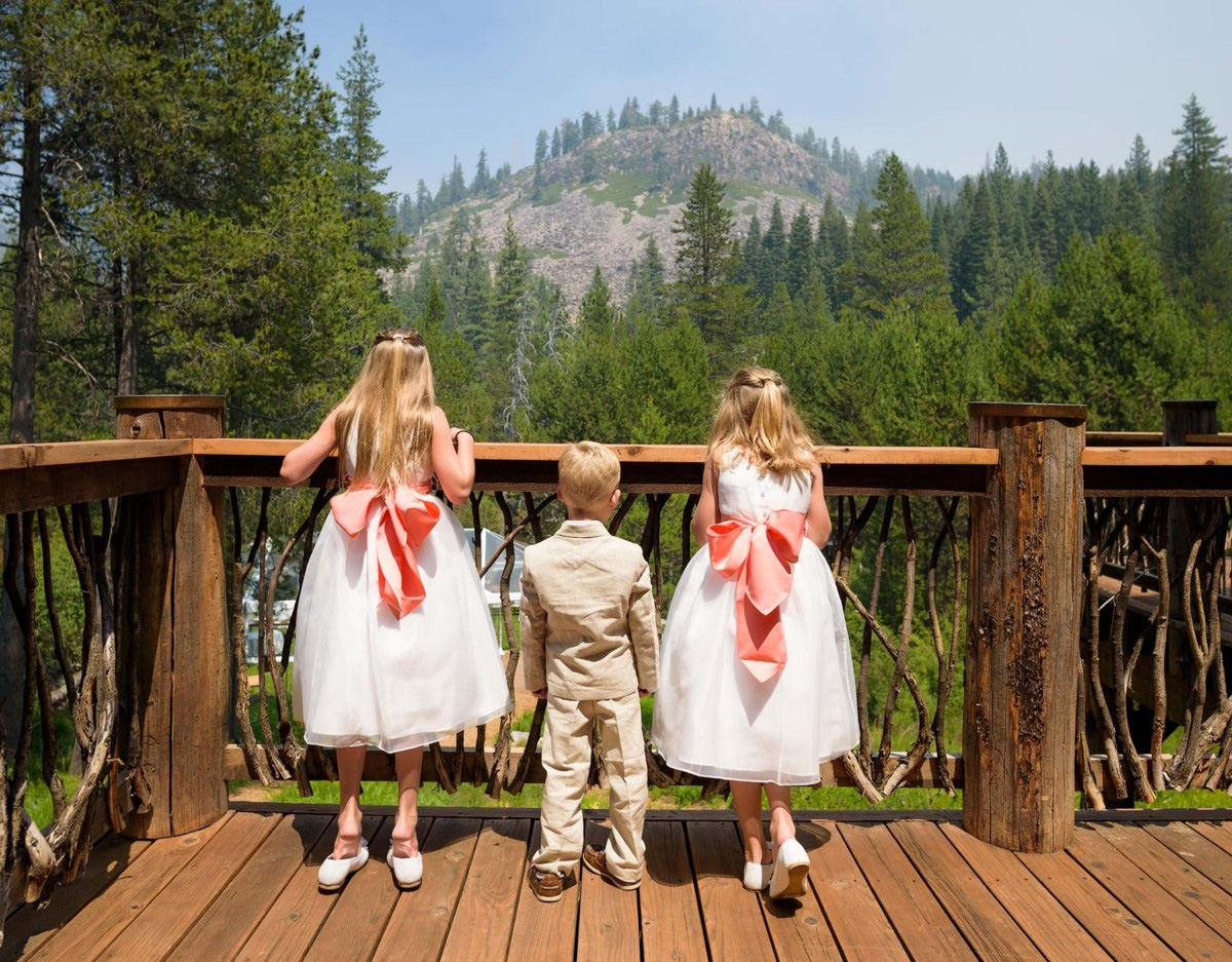 Lake Tahoe wedding on Truckee River - flower girls and ringbearer
