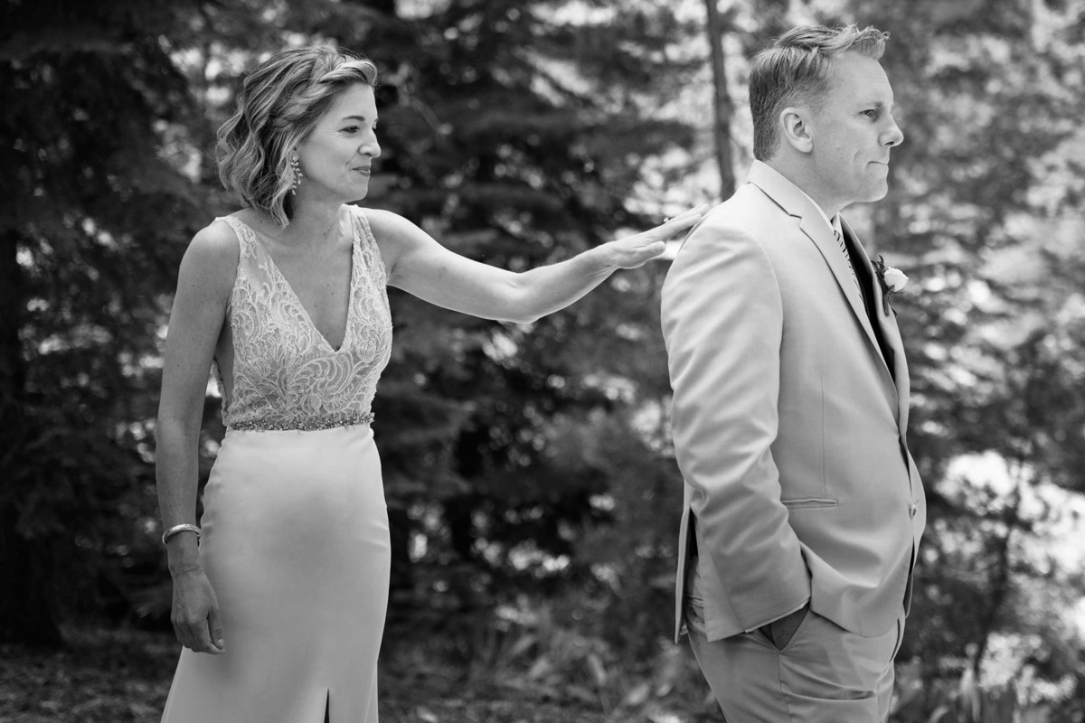 Lake Tahoe wedding on Truckee River - First Look