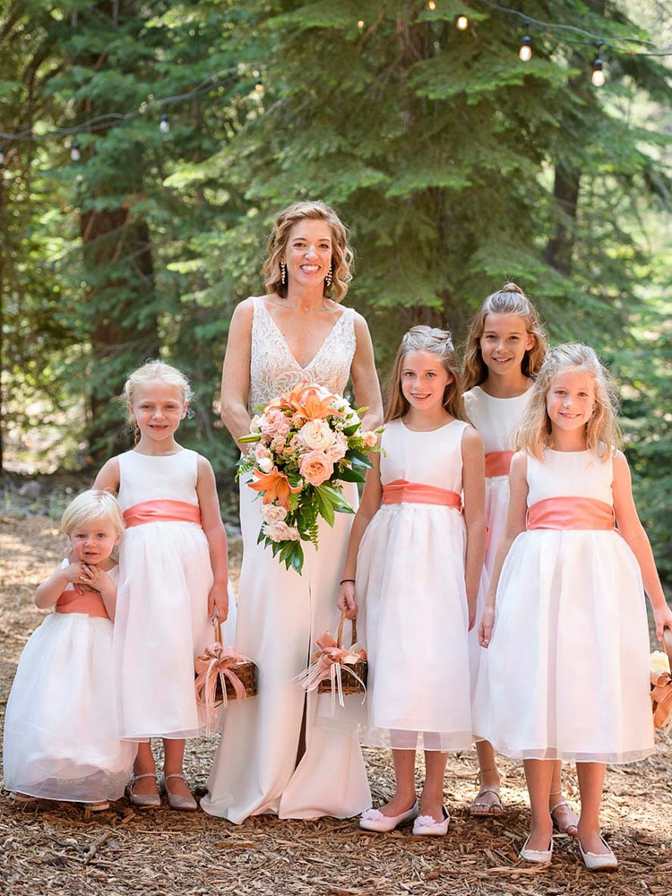 Lake Tahoe wedding on Truckee River - bride with flower girls