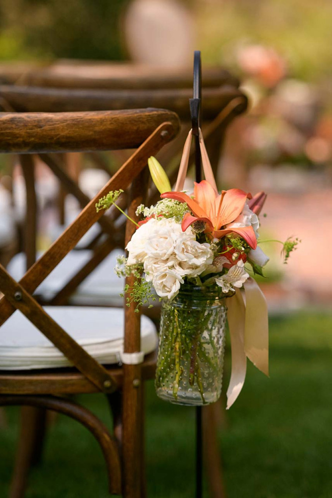 Lake Tahoe wedding on Truckee River - ceremony aisle decor