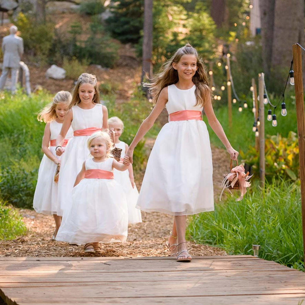 Lake Tahoe wedding on Truckee River - flower girls processional