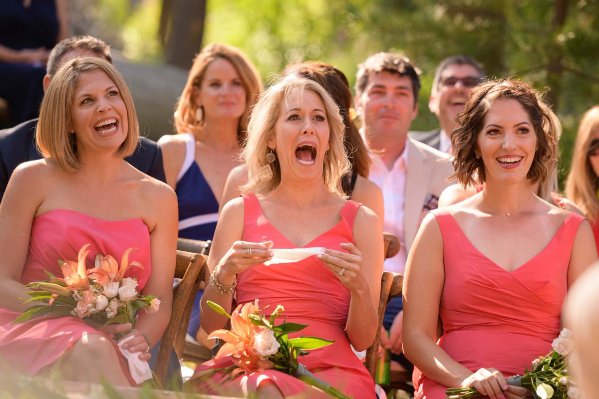 Lake Tahoe wedding on Truckee River - bridesmaids see the bride