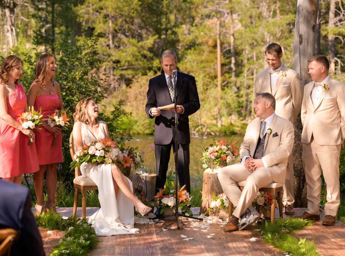 Lake Tahoe wedding on Truckee River - ceremony