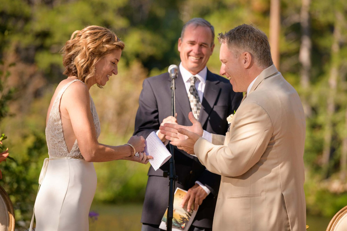 Lake Tahoe wedding on Truckee River - exchanging rings