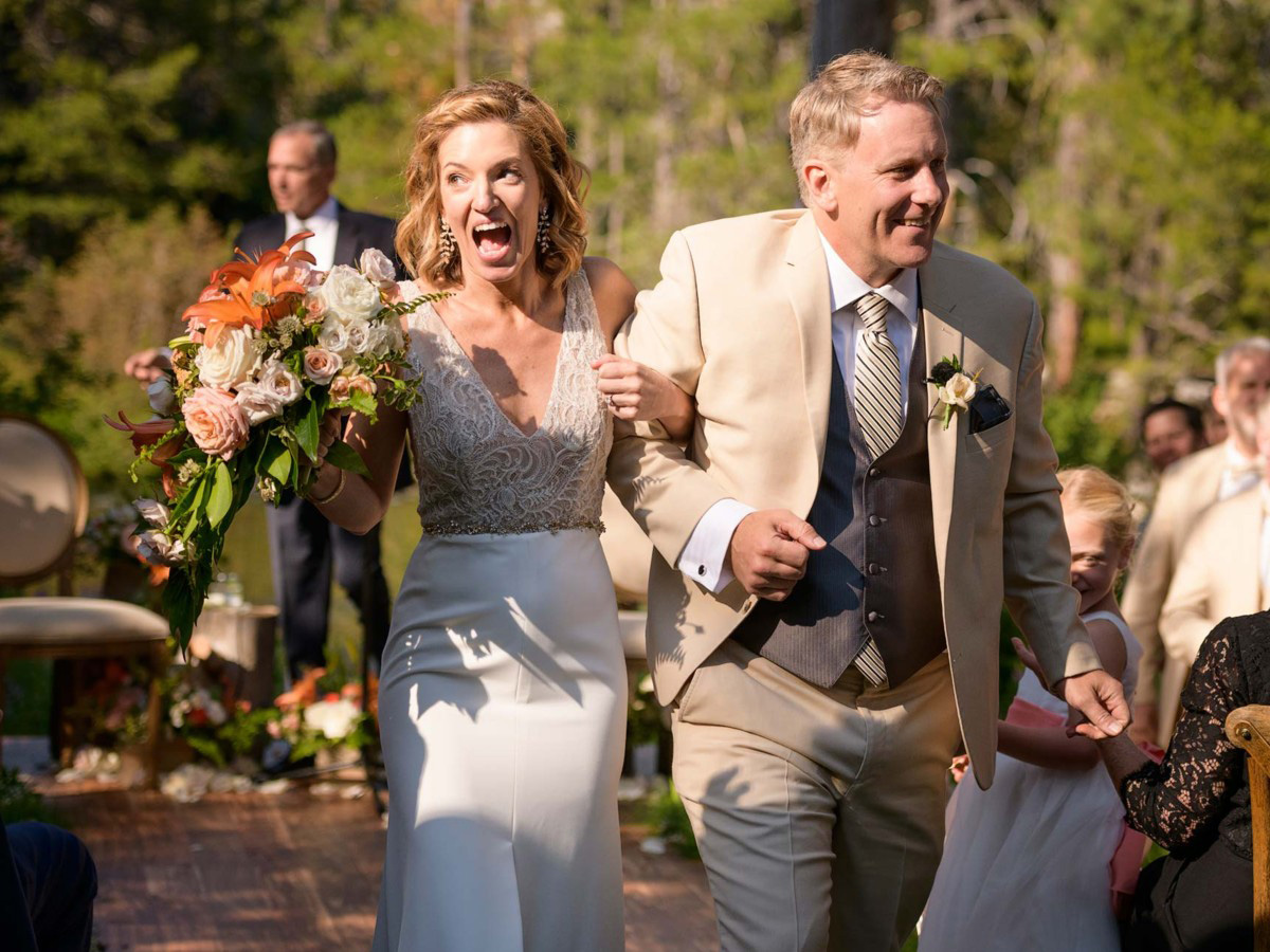 Lake Tahoe wedding on Truckee River - just married