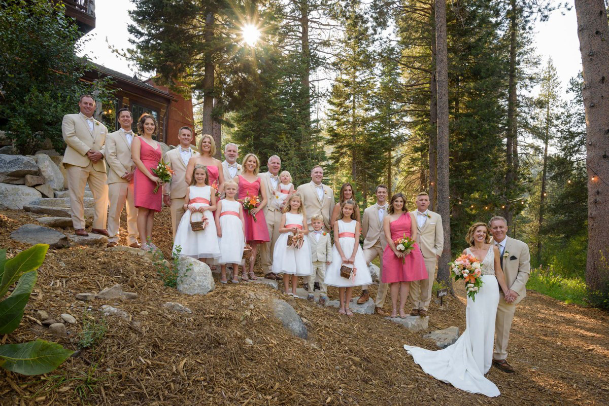 Lake Tahoe wedding on Truckee River - group photo