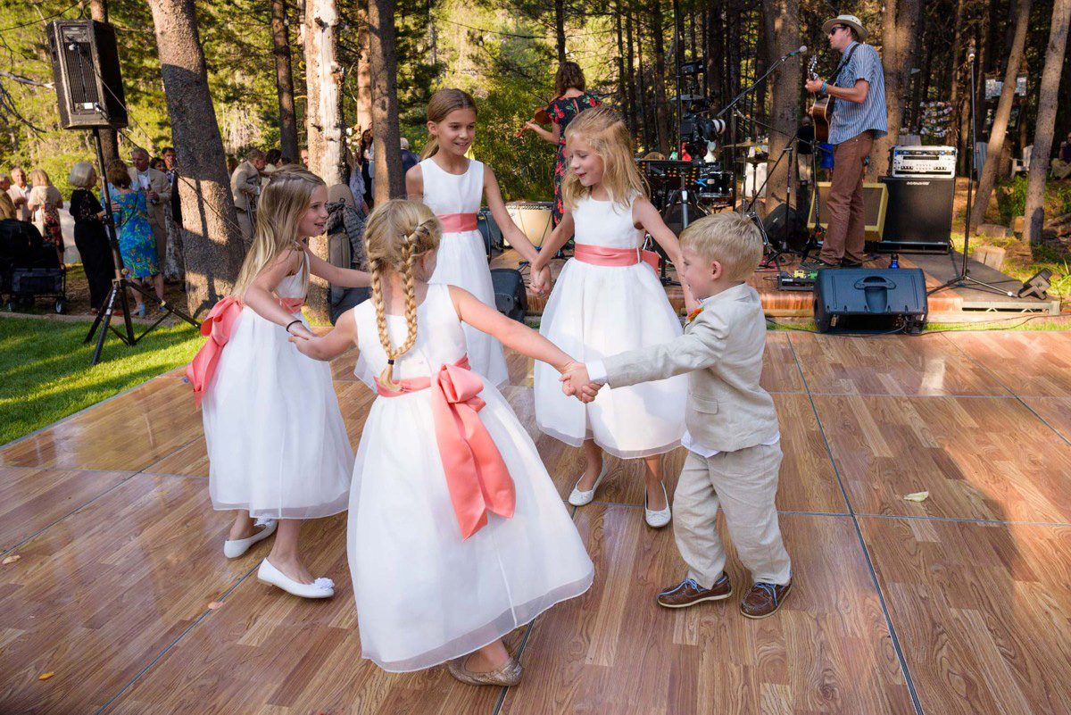 Lake Tahoe wedding on Truckee River - kids at cocktail reception