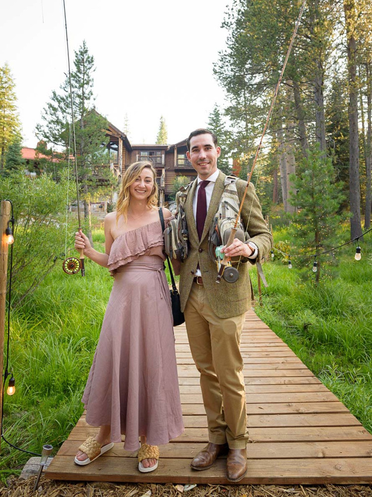 Lake Tahoe wedding on Truckee River - getting ready to fish