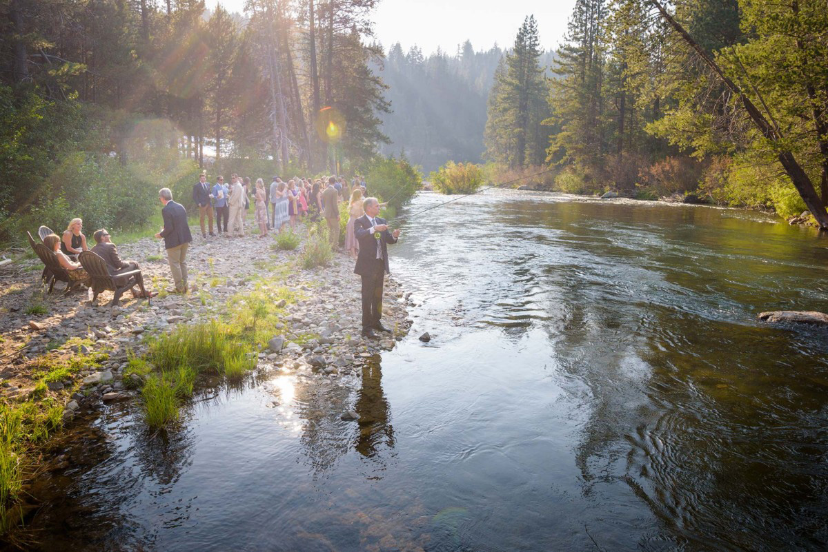 Lake Tahoe wedding on Truckee River - fly fishing