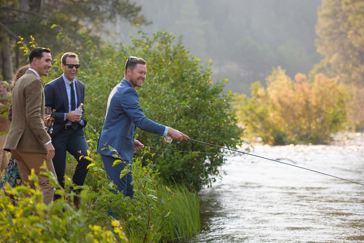 Lake Tahoe wedding on Truckee River - casting a line