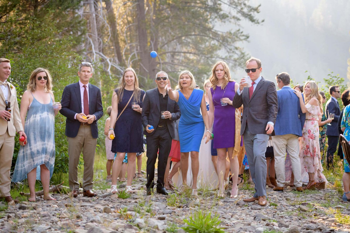Lake Tahoe wedding on Truckee River - games during cocktail reception