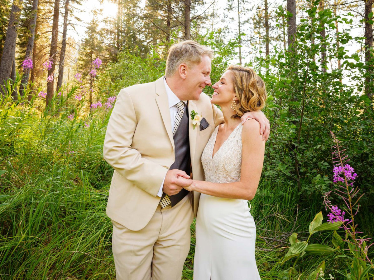 Lake Tahoe wedding on Truckee River - couple in woods