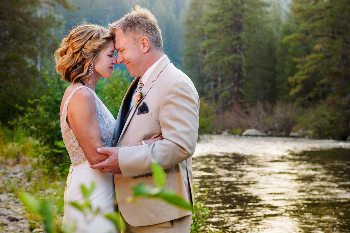 Lake Tahoe wedding on Truckee River - couple by river