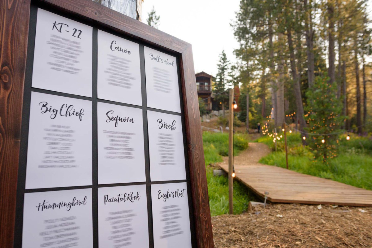 Lake Tahoe wedding on Truckee River - table assignment for dinner