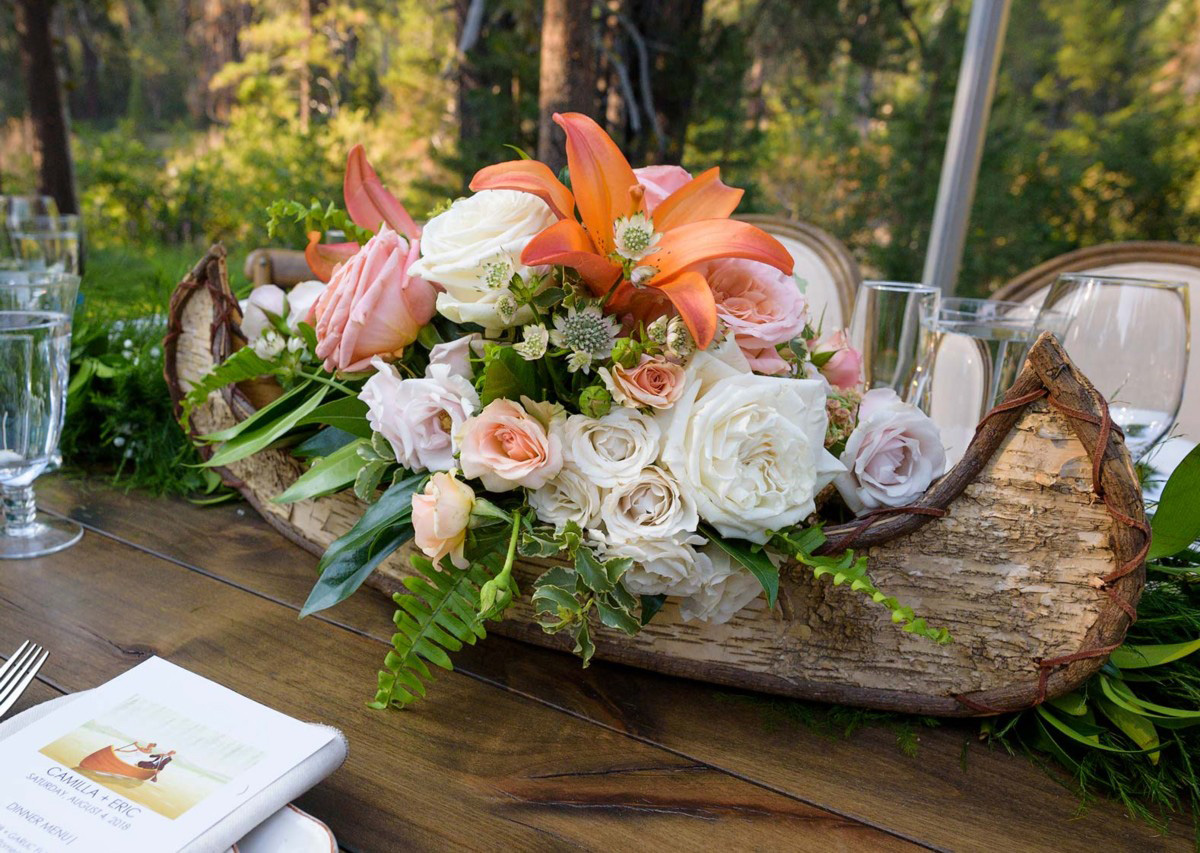 Lake Tahoe wedding on Truckee River - canoe centerpiece