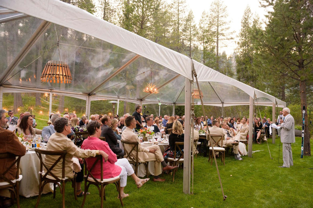 Lake Tahoe wedding on Truckee River - father of bride toast