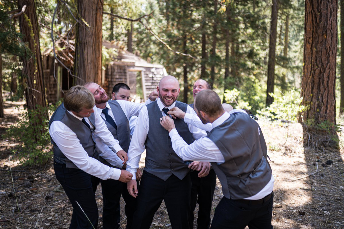 Forest Wedding near Lake Tahoe - groom with groomsmen