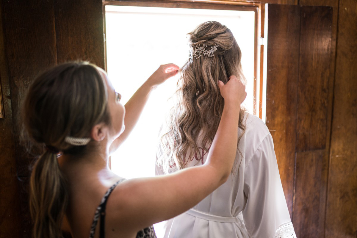 Forest Wedding near Lake Tahoe - bride getting hair done