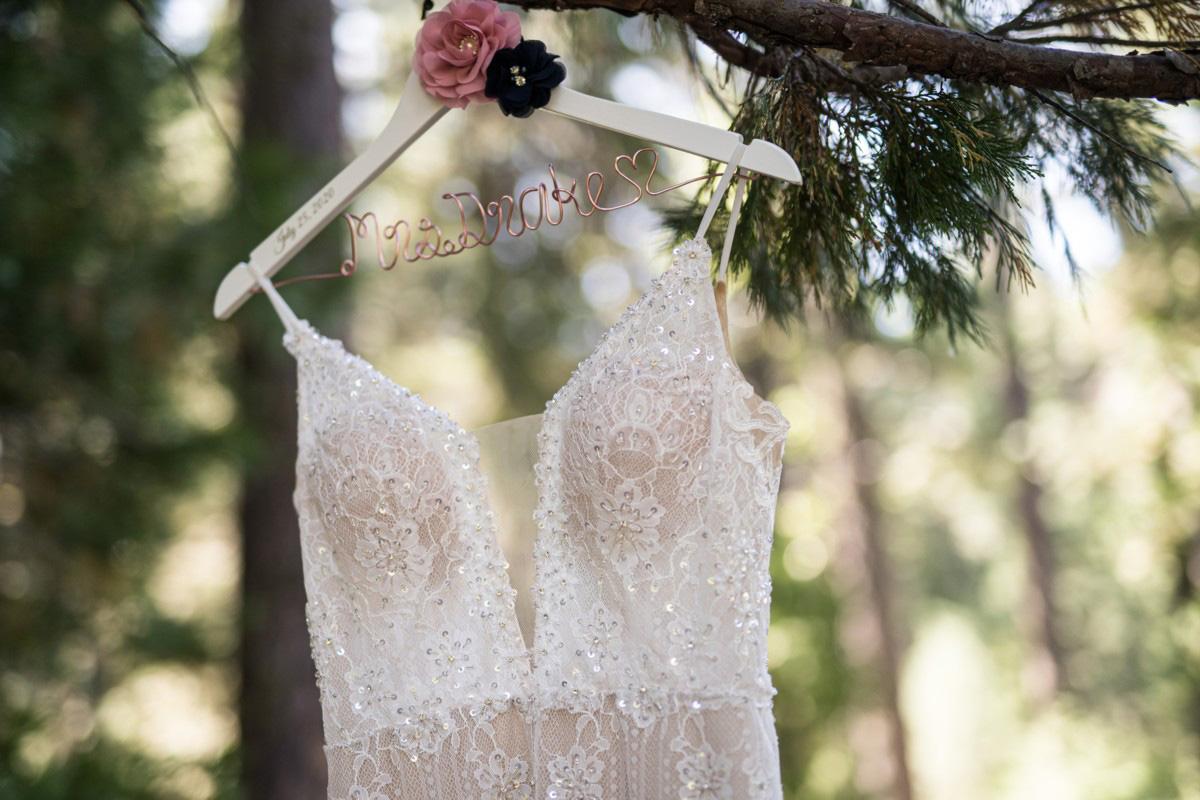Forest Wedding near Lake Tahoe - bride's dress