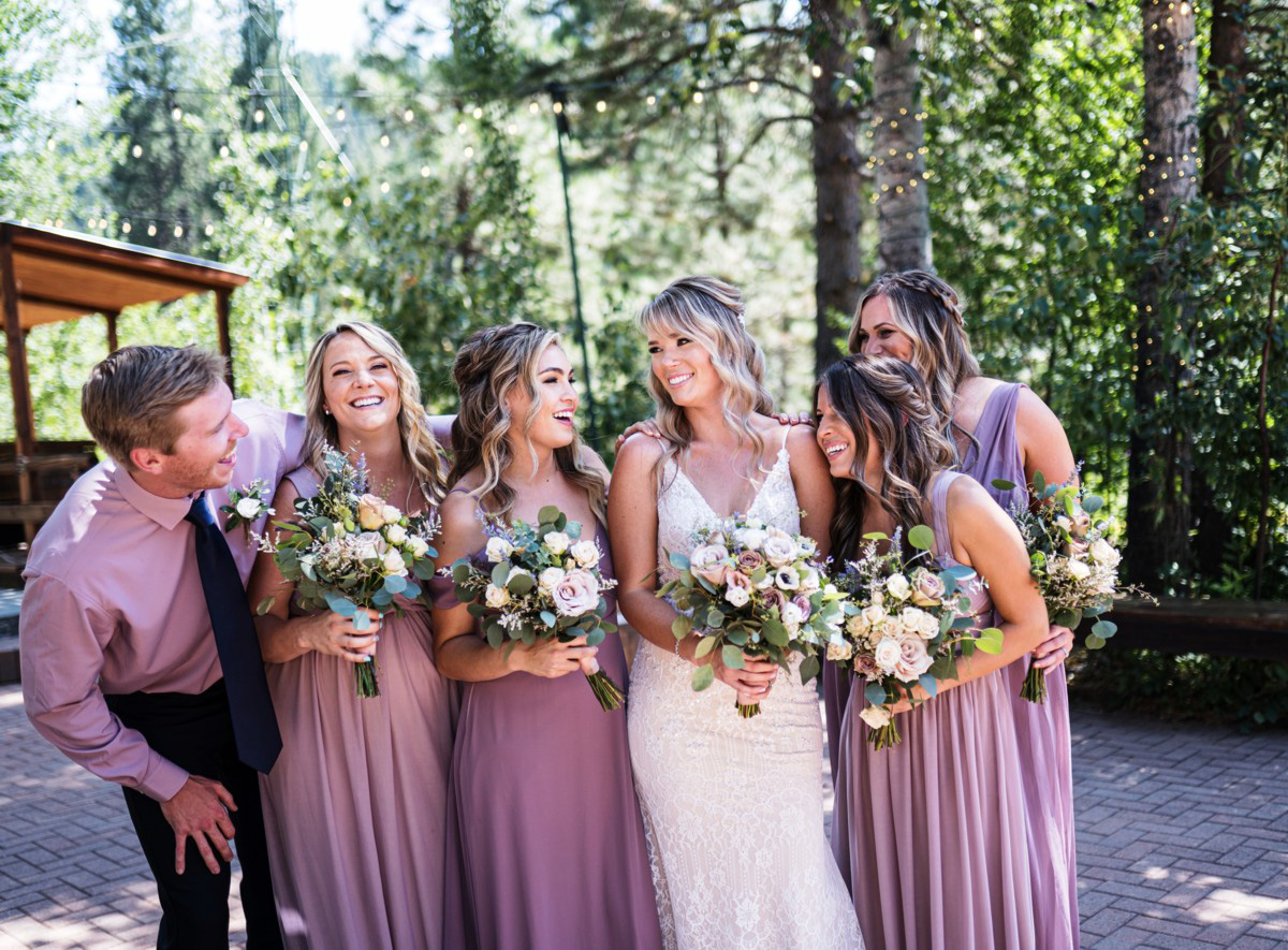 Forest Wedding near Lake Tahoe - bridal party before ceremony