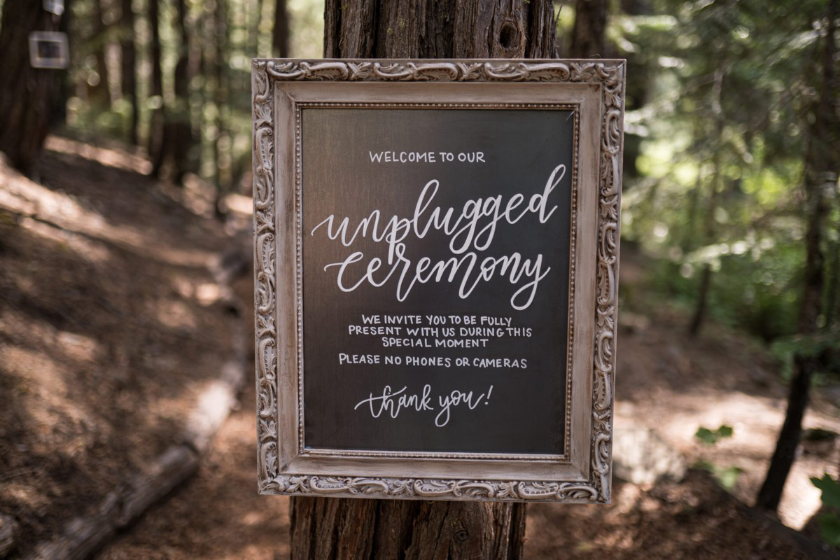 Forest Wedding near Lake Tahoe - welcome sign
