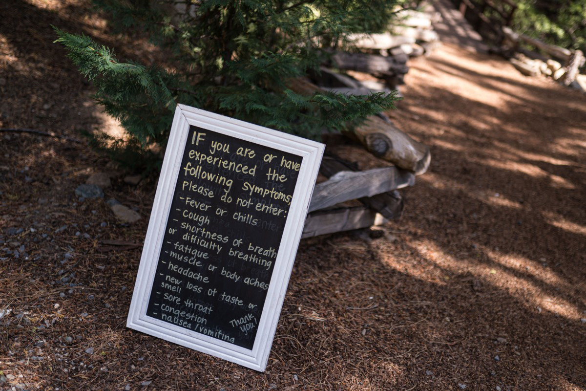 Forest Wedding near Lake Tahoe - COVID sign