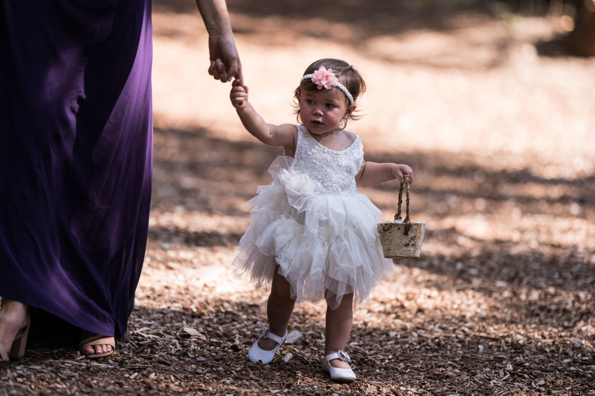 Forest Wedding near Lake Tahoe - flower girl in processional