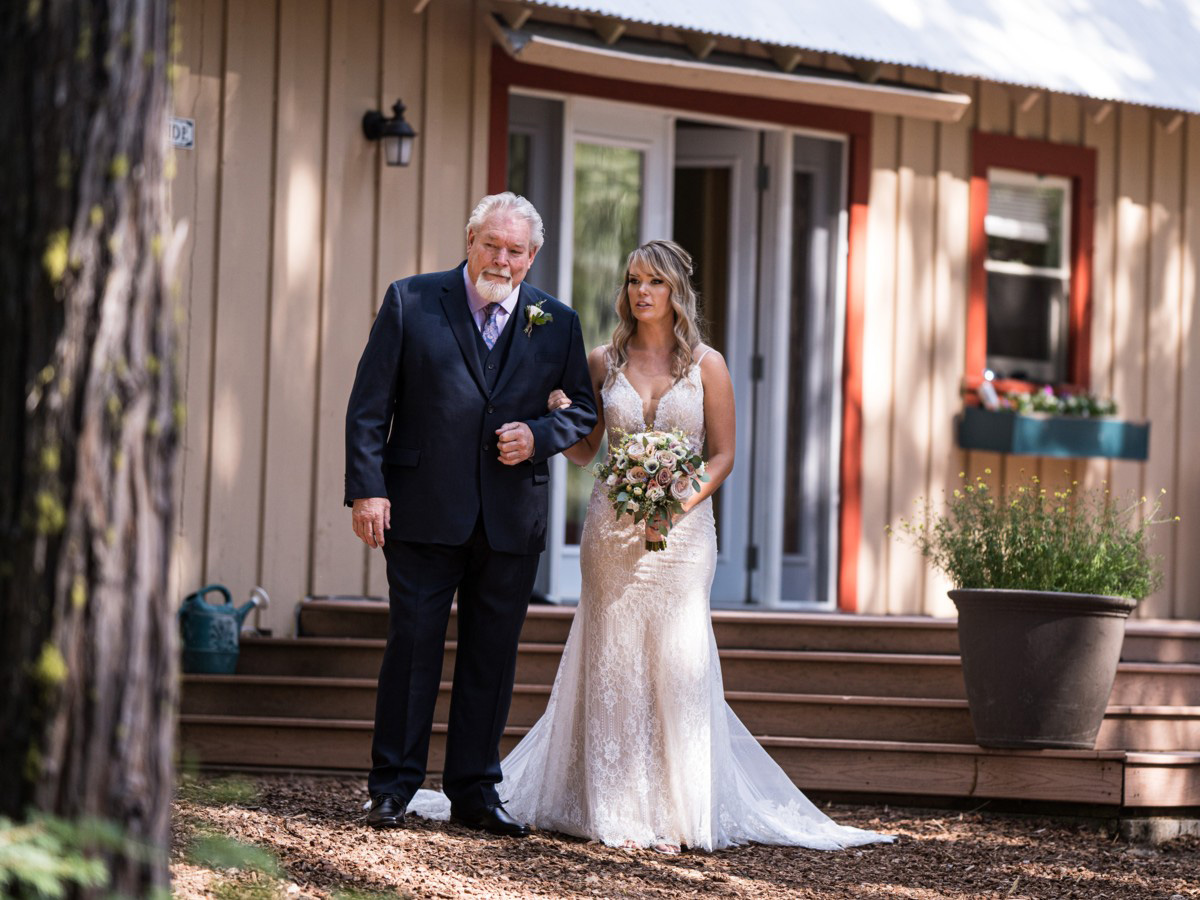 Forest Wedding near Lake Tahoe - bride escorted by father