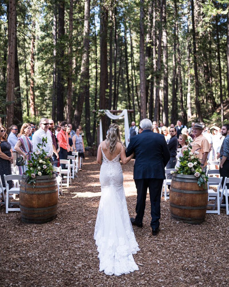 Forest Wedding near Lake Tahoe - bride and father down the aisle