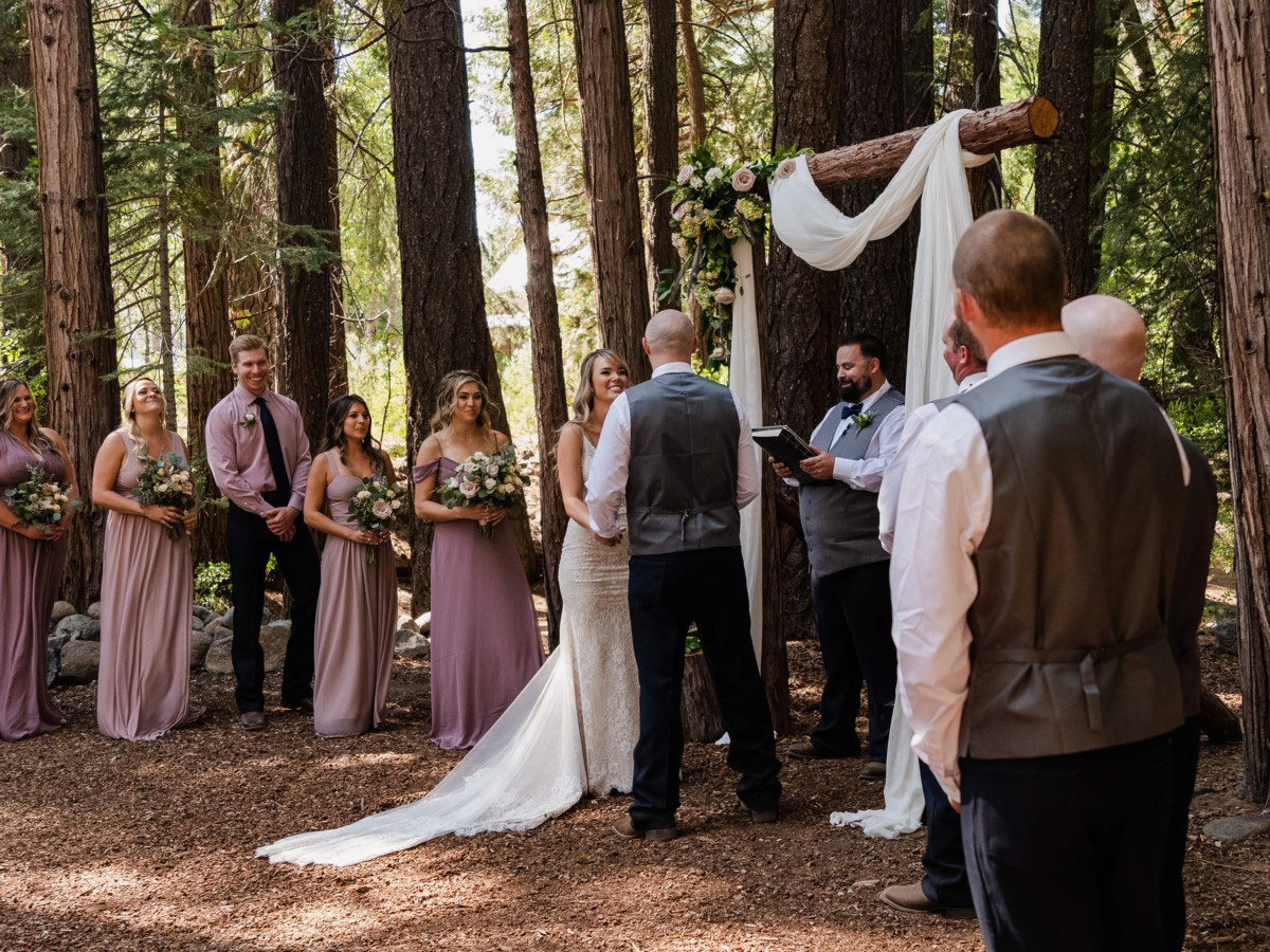 Forest Wedding near Lake Tahoe - officiant reading