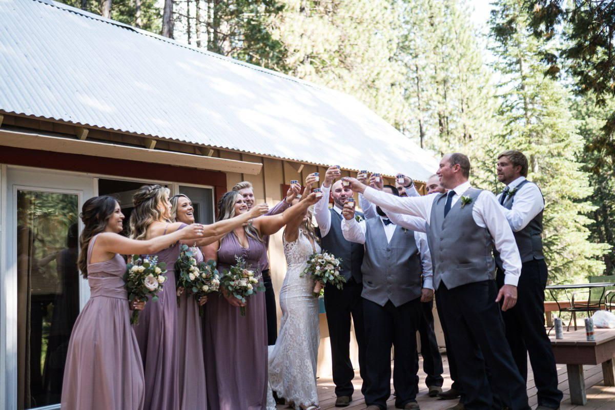 Forest Wedding near Lake Tahoe - a toast with wedding party