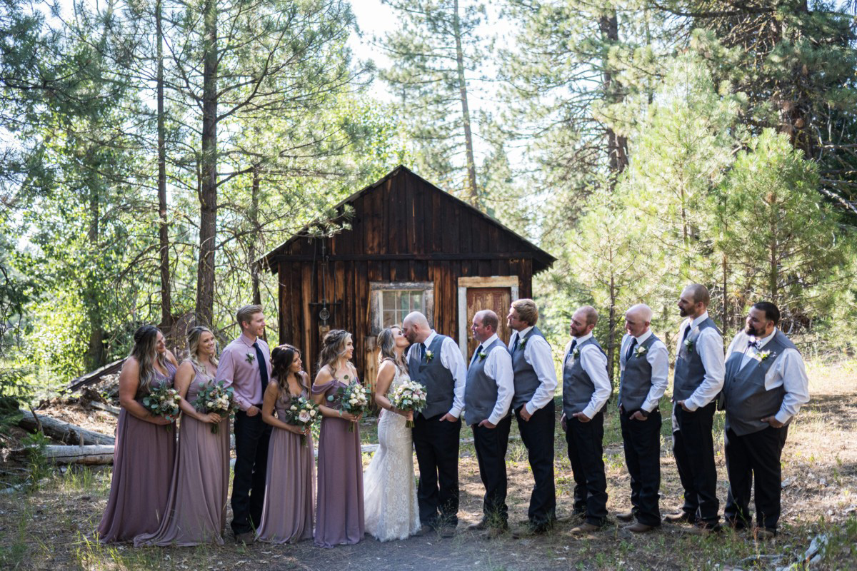 Forest Wedding near Lake Tahoe - wedding party photo after ceremony