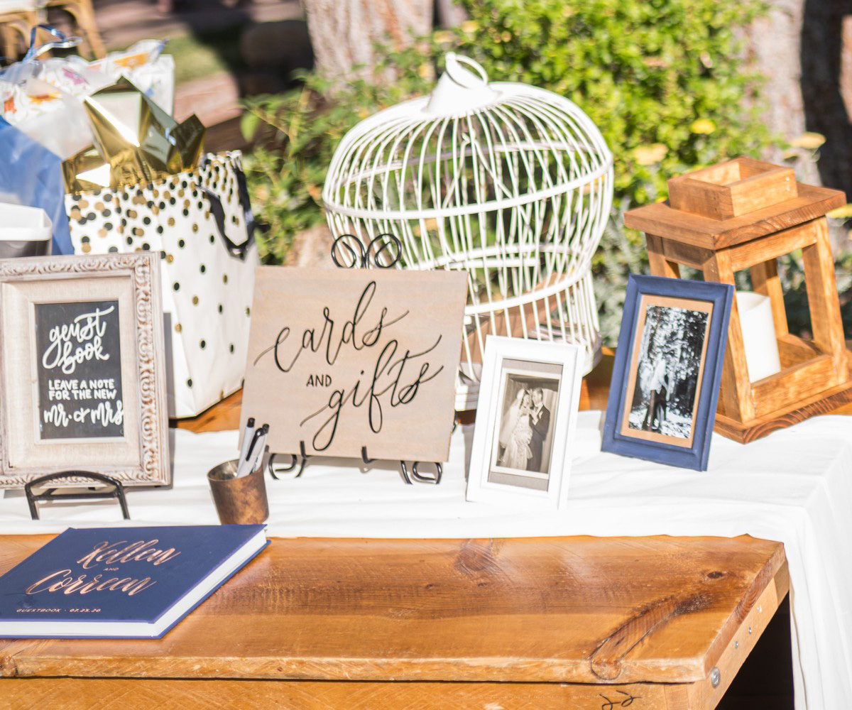 Forest Wedding near Lake Tahoe - guest book and photos at cocktail reception