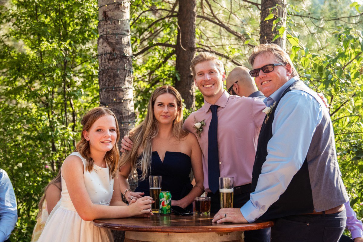 Forest Wedding near Lake Tahoe - guests enjoying cocktail reception