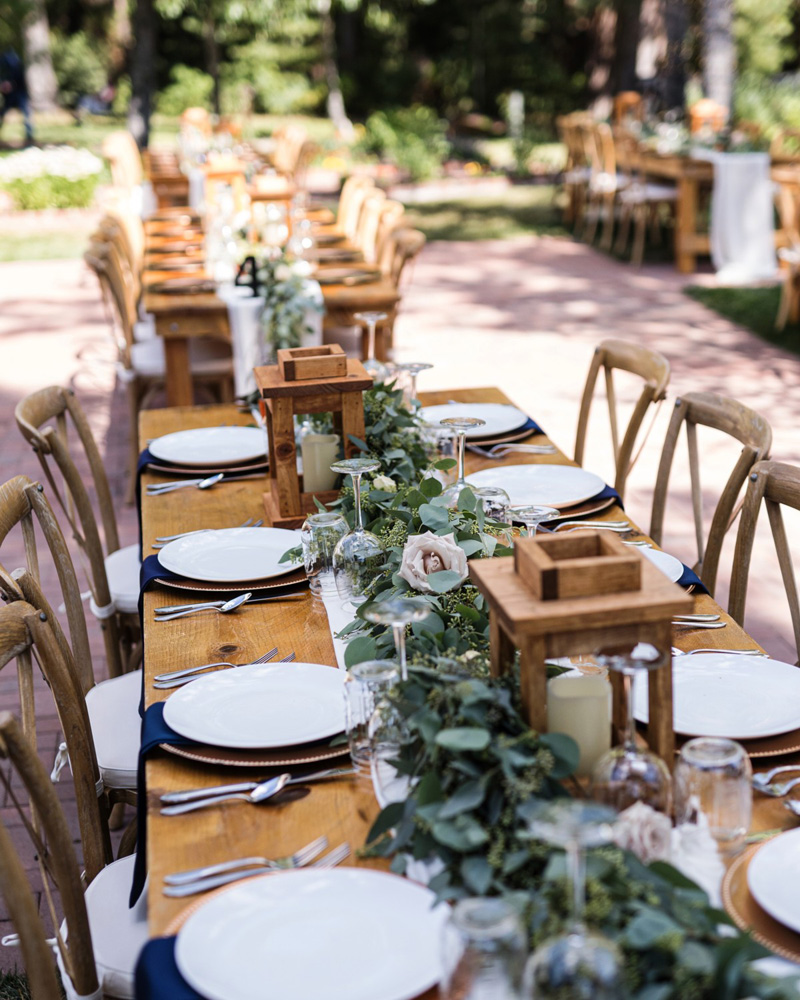 Forest Wedding near Lake Tahoe - dining tables