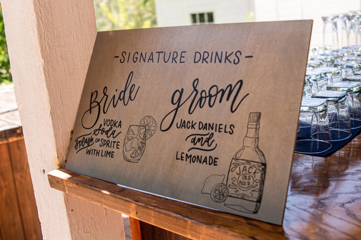 Forest Wedding near Lake Tahoe - specialty drinks