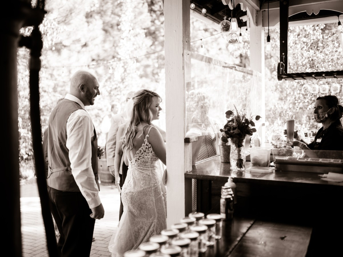 Forest Wedding near Lake Tahoe - couple at the bar
