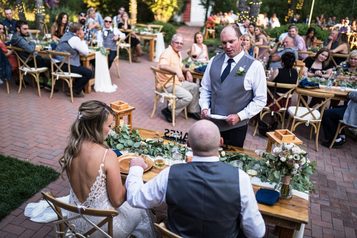 Forest Wedding near Lake Tahoe - groomsman makes toast