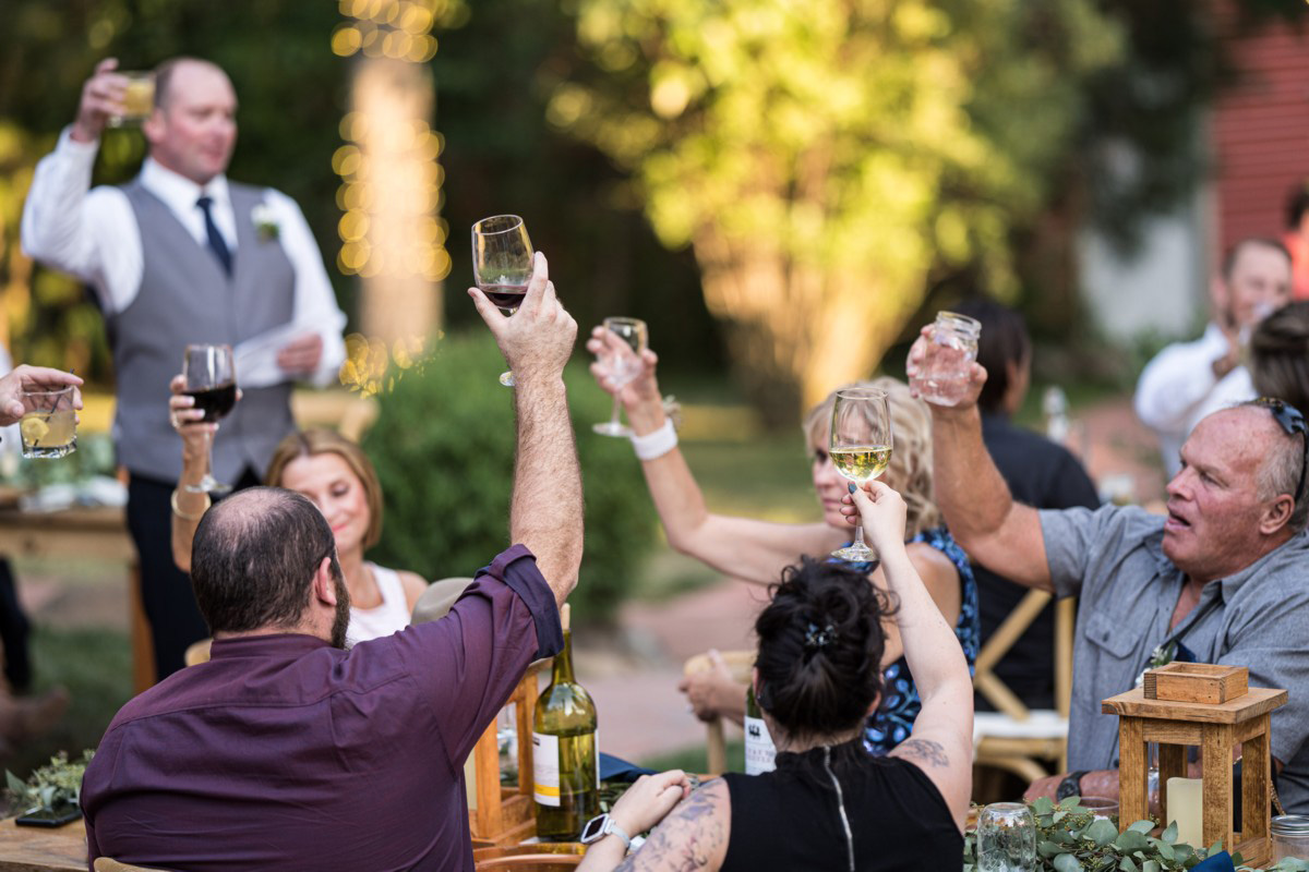 Forest Wedding near Lake Tahoe - a toast to the couple