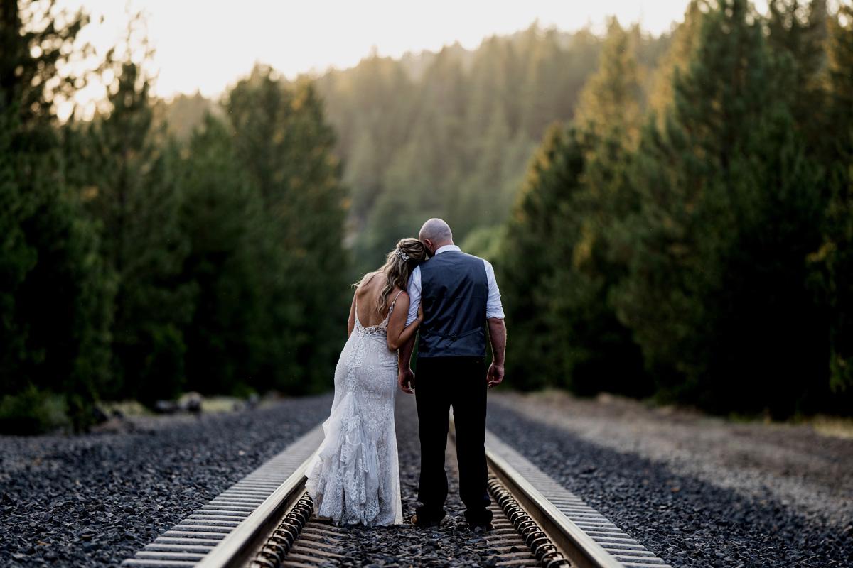 Forest Wedding near Lake Tahoe - couple savoring the sunset