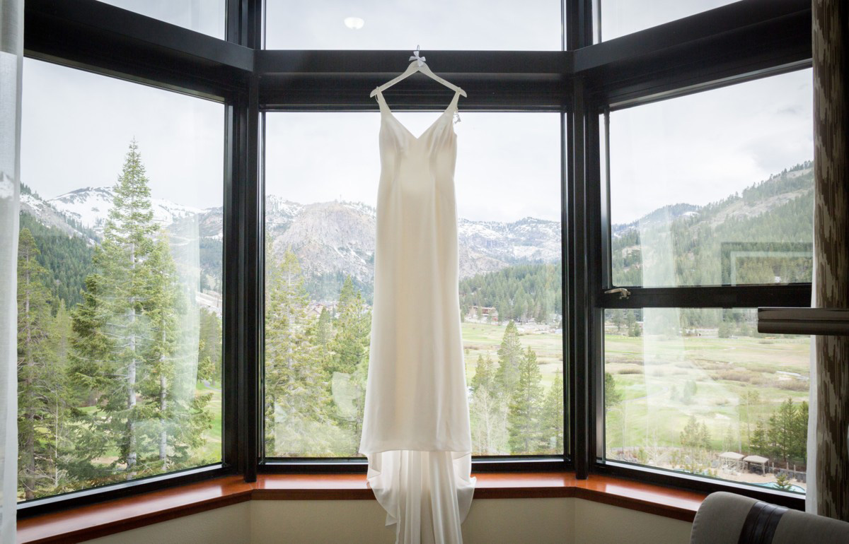 Resort at Squaw Creek Lake Tahoe wedding - bride's dress