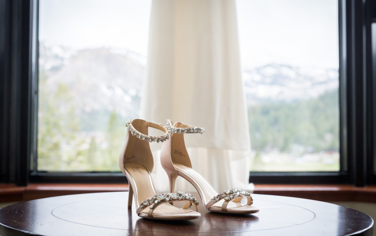 Resort at Squaw Creek Lake Tahoe wedding - bride's shoes