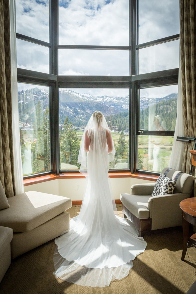 Resort at Squaw Creek Lake Tahoe wedding - bride by window