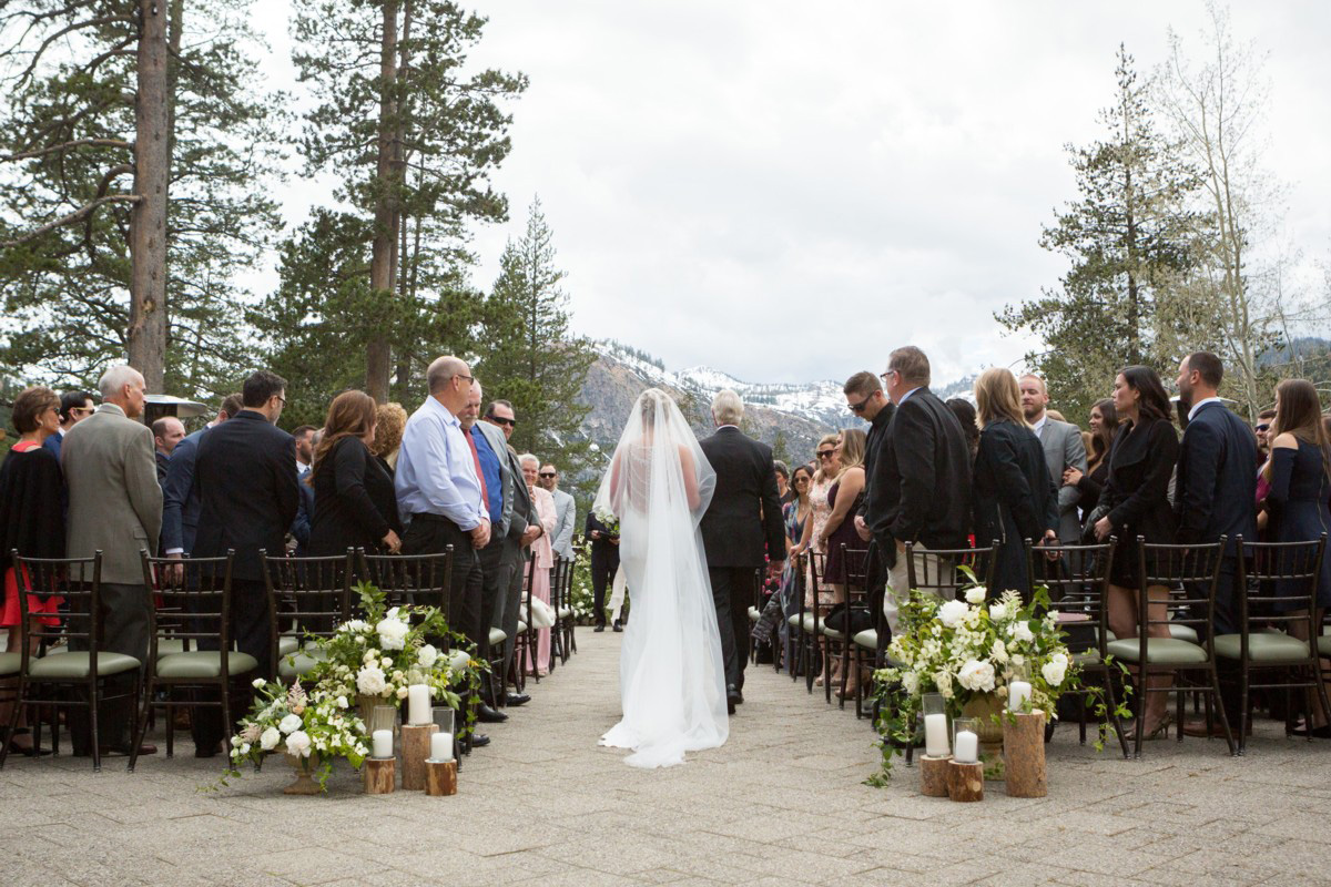 Resort at Squaw Creek Lake Tahoe wedding - bride down aisle with father
