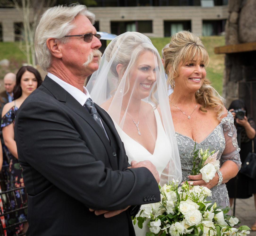 Resort at Squaw Creek Lake Tahoe wedding - bride with parents